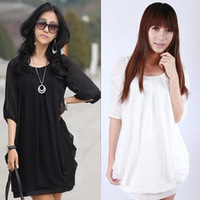 S-XXL XXXL XXXXLplus size women clothing 2014 fashion women summer spring knee-length casual dress black and white chiffon dress