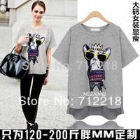 Free Shipping Summer 2014 plus size women's clothing korean fashion short-sleeve cotton women t-shirt casual summer tops XL-4XL