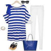 Free Shipping Plus size Cotton women's clothing 2014 summer korean fashion women summer tops striped brand t shirt  big XL-4XL