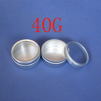 New  Free Shipping 50pcs/lot 40g Packaging Tin Metal Cans Cosmetics Jar Cream Container Round Aluminum Butter Case