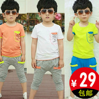 2014 summer child set male short-sleeve twinset children's child clothing baby summer shell children's clothing