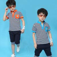 Children's clothing male child set child stripe summer 2014 3 4 5 - - - - - 6 7 8-9-10 baby clothes