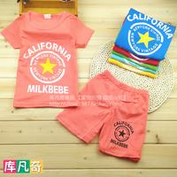 Male female child set summer 2014 short-sleeve shorts twinset cartoon baby child set 1 - 5