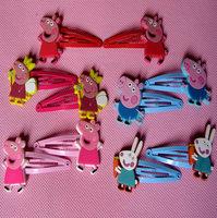 Metal kids accessories peppa pig girls hair clip