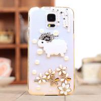 For samsung   i9600 phone case little sheep mobile phone protective case  for SAMSUNG   s5 rhinestone pasted shell