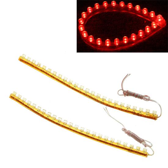 2Pcs 24 LEDs Car Led Light Lamp Strip Flexible Waterproof PVC Light Strip Red 12V Light Source Car Interior Decoration led(China (Mainland))