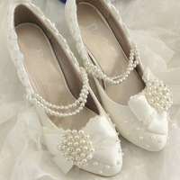 2014 wedding shoes free shipping spring autumn white bow lace women's shoes bride bridesmaid shoes handmade sweet princess shoes