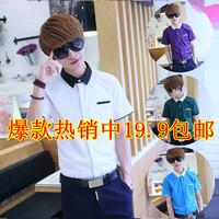 2014 summer male short-sleeve shirt slim solid color white shirt male teenage shirt