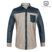 Cotton patchwork 100% bars male casual long-sleeve shirt