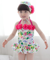 hot! 5pcs/lot 2014  Kids girls flower swimwear for Little Girls halter Swimsuit beachwear free shippng