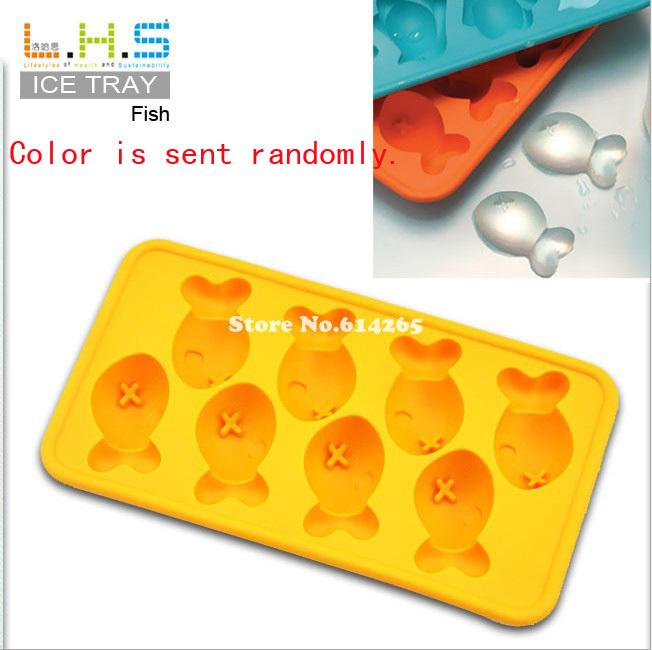 Free Shipping! Q Fish Shape Ice Cream Cube Tray Mold Maker Silicone Novelty Ice Cube 10PCS TM07011D(China (Mainland))
