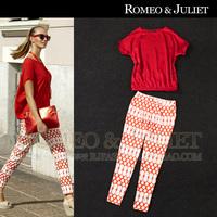 Summer women's red batwing sleeve top print cool casual skinny pants set