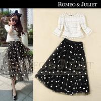 Summer women's 2014 gauze lace patchwork shirt polka dot expansion bottom full dress set