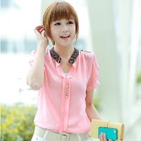 2014 New Summer High Fashion Women Cloting Blouse Plus size Casual Slim Lace stitching short sleeve chiffon shirt