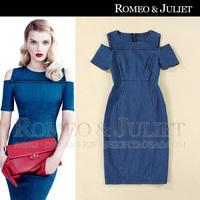 2014 spring and summer fashion women's elegant strapless slim hip slim denim skirt one-piece dress