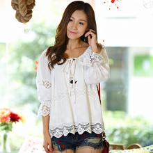 Nova Primavera 2014 Mulheres Lace recorte Bordados soltos Shirts Verão Feminino Vestidos Sheer Gypsy Blusas Feminina Blusa Cigana Tops(China (Mainland))