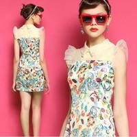 Fashion 2014 women's slim high waist broken patchwork print chiffon organza butterfly sleeve one-piece dress