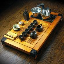 Porcelain tea set purple ceramic kung fu tea four in one induction cooker solid wood tea tray