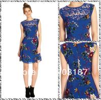 Free shipping 2014 spring new retro print sleeveless dress 8861