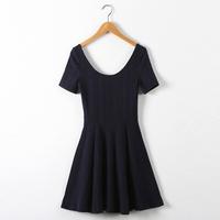 Fashion 2014 spring and summer high waist slim three-dimensional decorative pattern short-sleeve dress expansion bottom short