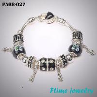 Bracelet&Bangle wholesale 925 sterling silver bracelet for women fine black beads charm bracelets jewelry free shipping PABR-027