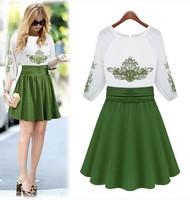 2014 fashion high quality embroidery three quarter sleeve o-neck slim waist color block silk one-piece dress