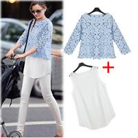 2014 fashion summer new arrival slim basic chiffon lace women one-piece dress twinset
