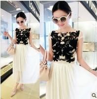 2014 spring women's fashion star one-piece dress disk flowers full dress slim chiffon skirt