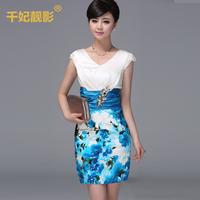 2014 fashion silk one-piece dress female spring quality mulberry silk print elegant women's high waist slim