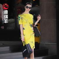 Sheep 2014 fashion summer vintage print short-sleeve slim female one-piece dress
