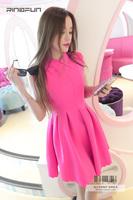 Rinafun star fashion 2014 spring and summer fashion elegant one-piece dress sleeveless c033