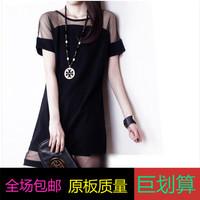 2014 plus size female summer fashion sexy gauze patchwork chiffon short-sleeve slim hip basic one-piece dress