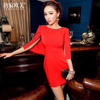 Fashion 2014 spring female vintage red cape cloak slim one-piece dress yc