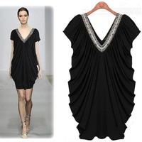 2014 summer fashion mm plus size clothing V-neck paillette dress new arrival one-piece dress