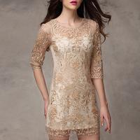 2014 summer women's fashion high quality cutout organza slim twinset lace one-piece dress
