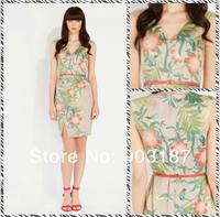Free shipping 2014 summer new , fresh and elegant printing Slim V-neck sleeveless dress 8700
