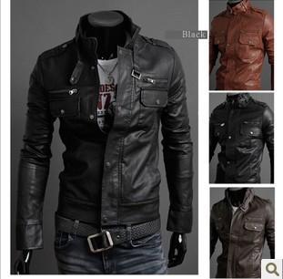 FreeShpping 2014 new men's leather jacket Slim leather jacket PU 3 color 4 size hot sale,men's coat,men's jacket.(China (Mainland))