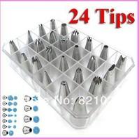 24pcs Icing Piping Nozzles Pastry Tips Cake Sugarcraft Decorating Tool Set Box