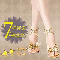 2014 Summer Korean Superstar Yoon Eun Hye Same Type Sheep Skin  7 Wears Comfortable Breathable Sandals With 4 Decoration Charm