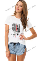 MZ016 Best quality new 2014 fashion cotton women t-shirt tops for women unique design animal zebra letter print white t-shirts