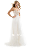 Latest Style Sweetheart Tulle Beading White Prom Dress