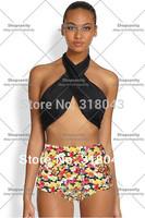 new 2014 sexy vintage print bikini set swimwear women high waist swimsuit push up maillot de bain bathing suit brazilian biquini