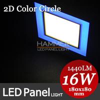 Blue Circle 2D panel light+warm cold white led panel lighting 180mm square lighting panel 16W, professional panel light factory!