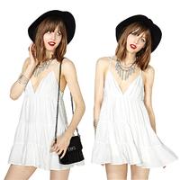 Details about  Sexy Womens Elegant White Mini Dress Deep V Neck Spaghetti Strap Backless Dress Free&DropShipping