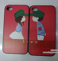 for apple iphone 4 4s 5 5s cartoon red kiss vintage hat i love you girl boy couple lover case cover