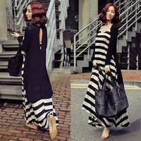 Black and white stripe full dress plus size female twinset bohemia beach skirt suspender one-piece dress