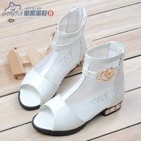Child leather 2014 children shoes female child sandals gauze cutout open toe shoe princess single shoes
