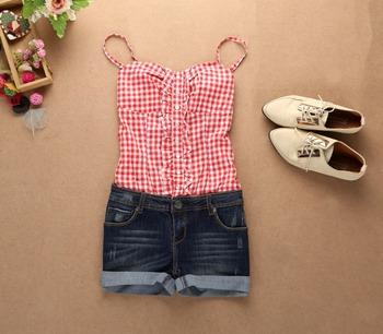 2014 summer Джинсаwear aolover Женщины CheckeКрасный jumpsuit Джинса88 Синий, Розовый ...