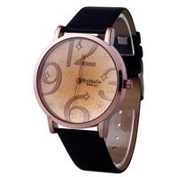 New Fashion Unisex Fashion Leather Womens Mens Stainless Steel Quartz Watch Wristwatch Gift