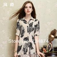 Freeshipping Pure Silk 2014 New Fashion summer silk mulberry silk short-sleeve top low-high shirt